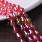New 30pcs 12X8mm Faceted Teardrop Crystal Glass Spacer Loose Beads Red AB