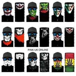 Skull Joker Balaclava Neck Tube Scarf Bike Gaiter Snood Face Mask Bandana Adult