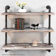 Rustic Industrial DIY Pipe Wall Mount Shelf Storage Vintage Bookshelf 3 Level