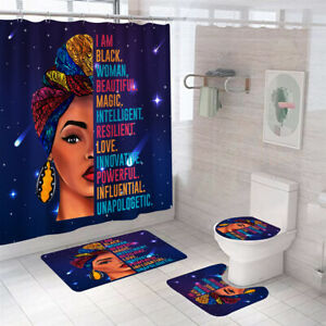 African Woman Shower Curtain Thicken Bathroom Rug Set Bath Mat Toilet Lid Cover