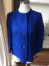 Talbots 100% Linen Royal Blue Textured Mandarin Collar Blazer Jacket 6 P Nice!