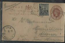 CAPE OF GOOD HOPE POSTAL STATIONERY (P0311B) 1893 QV 1D PSC+1/2D CAPTOWN TO GERM