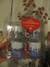 STARBUCKS ★ Coffee CITY mini MUG Ornament ★ 2003 4 Set Seattle NY Chicago SF L.E