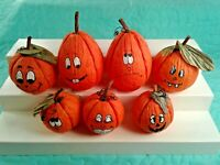 """7 Paper Pumpkins with Funny Faces HALLOWEEN DECORATIONS 3""""- 4.5"""" JACK O LANTERNS"""