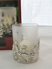 Gorham Snowmen Silver Plated Votive w/ Frosted Glass Insert Candle Holder & Box