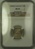 1894-KB Hungary 10 Filler Coin NGC MS-65 GEM BU