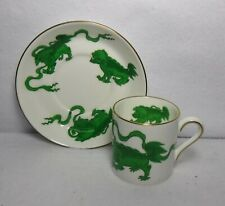 """Wedgwood England Chinese Tigers Green Demitasse Cup & Saucer Set - 2-3/8"""""""