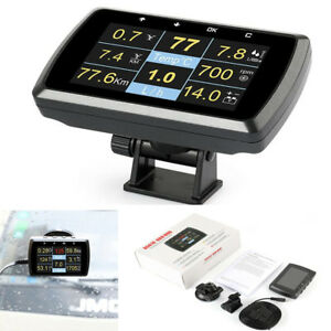 Car OBD OBD2 Gauge w/ Holder Driving Speed Meter Fuel Water Temp Digital Display