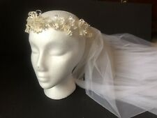 Vintage 1980s Priscilla Wedding Headpiece Two-Tier Long White Veil Beads Flowers