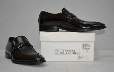 D0 NEW VERSACE COLLECTION Blk Polished Leather Logo Bit Loafer Shoes Sz 40 $625