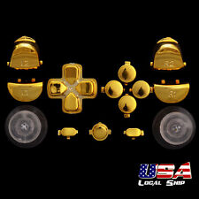 Chrome Gold Full Set Buttons Thumbsticks Repair for Dualshock 4 PS4 Controller
