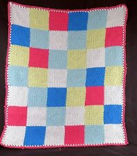 """Small blanket handmade loomed squares of red yellow blue white yarns 19.5"""" x 23"""""""