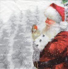 4x PAPER NAPKINS for Decoupage TELLING ROBIN SANTA FATHER CHRISTMAS