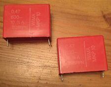 2 PCS 0.47uF / 630V WIMA MKP10 POLYPROPYLENE CAPACITORS. NOS. GOOD FOR AUDIO