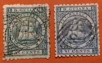 British Guiana 1866-71 2 x 6c Good Used Stamps Shades SG93 94