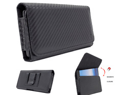 For Samsung Galaxy S20+ Note10+ A50,Carbon Fiber Leather Case Holster Belt Pouch