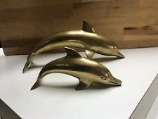 "Vintage Solid Brass Dolphin Figurine Sculpture Statue 10"" Hollywood Regency"