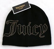 Juicy Couture Black Embellished Signature Knit Beanie Women's One Size NWT