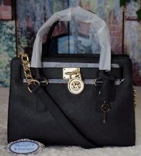 NWT Michael Kors HAMILTON E/W Satchel Tote Bag BLACK/GOLD Saffiano Leather $298