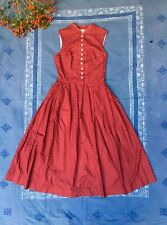 Vintage Calico Dirndl Midi Dress Tyrolian S