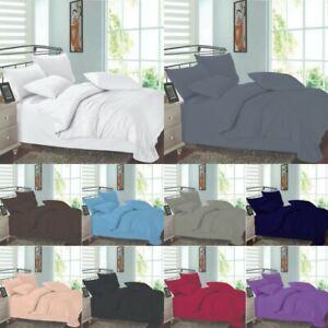 Plain Quilt Duvet Cover Set & Pillow Cases Single Double King Half Bedding Set