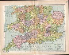 1903 MAP ~ ENGLAND & WALES SOUTH SHEET ~ DEVON CORNWALL NORFOLK ESSEX LEICESTER