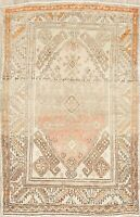 Vintage Muted Oriental Anatolian Turkish Area Rug Hand-Knotted Wool Carpet 3x5