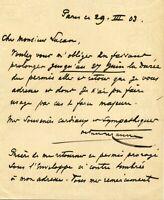 🌓 Octave UZANNE | lettre autographe signée (1903) | Prorogation de permis A/R