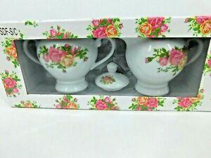 JOSEPH SEDGH Creamer & Sugar Bowl w/lid Roses Set Fine China NEW