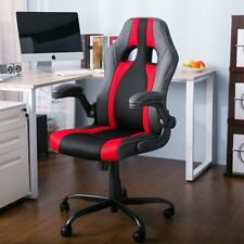 Merax Racing Style Office Chair Computer Desk Chair High Back PU Leather and red