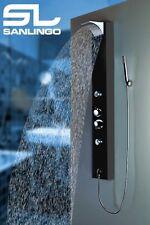 Black Aluminum Shower Column Panel Thermostat Rain Shower Massage Sanlingo
