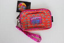 Laurel Burch Red Magenta Feline Zipper Wristlet Clear ID Pocket 100% Cotton