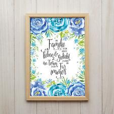 Familie Zu Sein Bedeutet Kunstdruck A4 Blumen Shabby Chic Spruch Geschenk Bilder