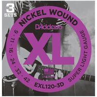 D'Addario EXL120-3D Nickel Wound Super Light Electric Guitar, 09-42, 3 Pack