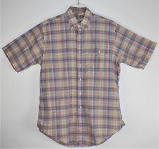 Vintage Men's Coffman'S Pastel Plaid Madras Short Sleeve Shirt - Size Large