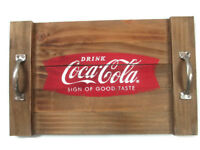 Coca-Cola Wood Serving Tray with Metal Handles Drink Coca-Cola  - BRAND NEW