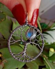 * TREE OF LIFE with LABRADORITE MOON Pendant * .925 Sterling Silver