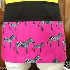 BLACK Hot pink Zebra'sprint 3 POCKET WAITRESS WAIST APRON BAR RESTAURANT SERVER