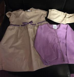 Baby Gap Girls Size 12-18 Months Tan Dress Purple Belt With Purple Sweater