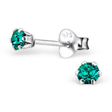 Sterling Silver 3mm Blue Zircon Crystals Stud Earrings Cute Genuine SOLID 925