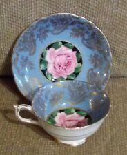 PARAGON China Tea Cup & Saucer Teal & Gold Cabbage Rose Old Mark A.1695/3 Signed