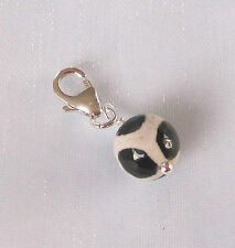 925 sterling silver black and white dzi Agate gemstone clip on charm pendant