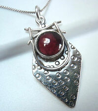Garnet Hammered Tribal Style 925 Sterling Silver Necklace Corona Sun Jewelry
