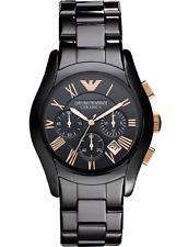 Emporio Armani Ceramica AR1410 Rose Gold Chronograph Watch Black Ceramic NIB WOW