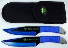 "2pc Blue/Black 9"" Zombie Biohazard Throwing Knife set w/ Sheath Dagger Kunai"