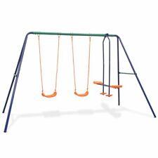 vidaXL Swing Set with 4 Seats Orange Outdoor Children Activity Playset Frame