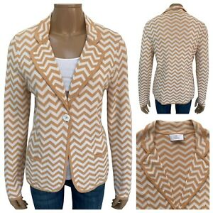 Elegance Paris Women's Ivory Peach ZigZag Pattern Knit Blazer Cardi Size 14 UK