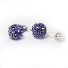Genuine Sterling Silver 8mm Shamballa Crystal Ball Stud Earrings (Tanzanite)