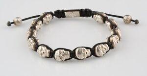 Nialaya Mens Skullbead Sterling Silver Shamballa Bracelet Size 7 Amazing!