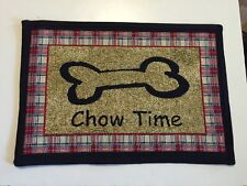 Red Blue Plaid Park B. Smith Pet Dog Food Bowl Mat Rug Bone CHOW TIME 13x19 New